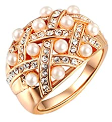 buy Moandy Jewelry Women'S 18K Gold Plated Wedding Band Ring Circle Round Multi Pearl Rose Gold Size 8
