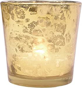 Luna Bazaar Vintage Mercury Glass Candle Holder (2.5-Inch, Liquid Motif, Gold) - For Use with Tea Lights - For Home Decor, Parties, and Wedding Decorations