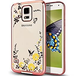 Galaxy S5 Case,NSSTAR Yellow Butterfly Floral Flower Bling Crystal Rhinestone Diamonds Clear Back Rubber Rose Plating Frame Soft TPU Silicone Gel Protective Bumper Case Cover for Samsung Galaxy S5