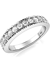 Sterling Silver 925 CZ Cubic Zirconia Wedding Band Ring