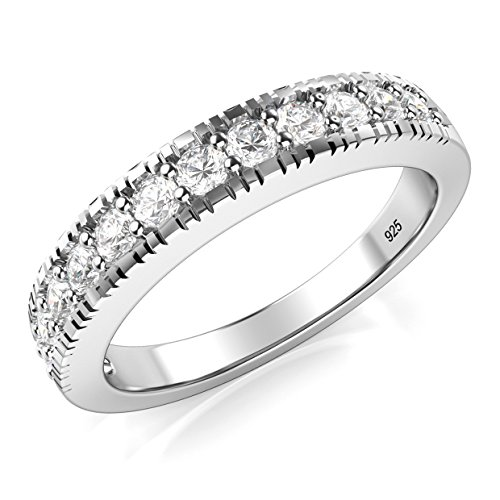 Sz 8 Sterling Silver 925 CZ Cubic Zirconia Wedding Band Ring