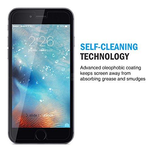 Protection Ecran iPhone 7, SAVFY Protecteur d'écran en Verre Trempé Résistant aux éraflures Glass Screen Protector Vitre Tempered - Dureté 9H, 2.5D Bords Arrondis- Anti-rayure, Anti-traces de doigts,Haute-réponse, Haute transparence