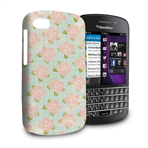 Phone Case For Blackberry Q10 - Grungy Baby Pink Roses Protective Slim