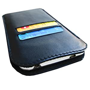 i-KitPit Genuine Leather Pouch Case For Sony Xperia Neo L (Black)