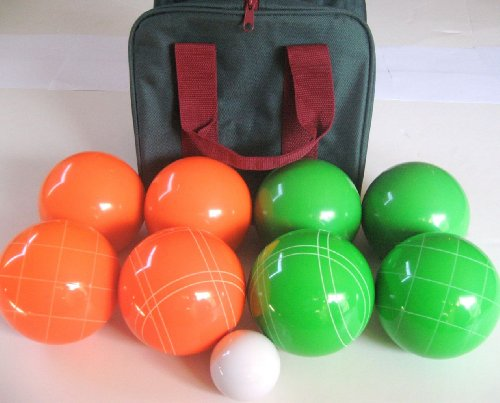 Premium Quality EPCO Tournament Bocce Set - 110mm Green and Orange Bocce Ball...