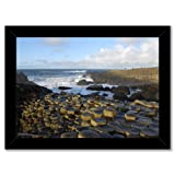Framed poster art print: GIANT'S CAUSEWAY N IRELAND HEXAGONAL (A3 - 29.7x42cm / 11.7x16.5in, glossy photo paper, black wooden frame, ready to hang)
