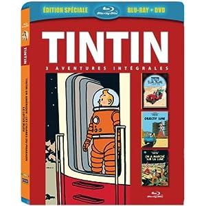 Tintin - 3 aventures - Vol. 5 : Objectif Lune + On a marché sur la Lune +