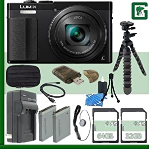 Panasonic Lumix DMC-ZS50 Digital Camera (Black) + 32GB + 64GB Green's Camera Bundle 2