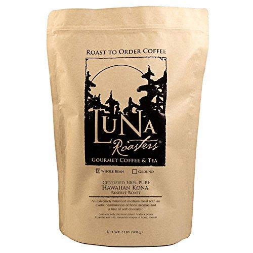 Luna Roasters® Hawaiian Kona-200% Pure, Whole Bean, Artisan Roast Coffee (2Lbs.)