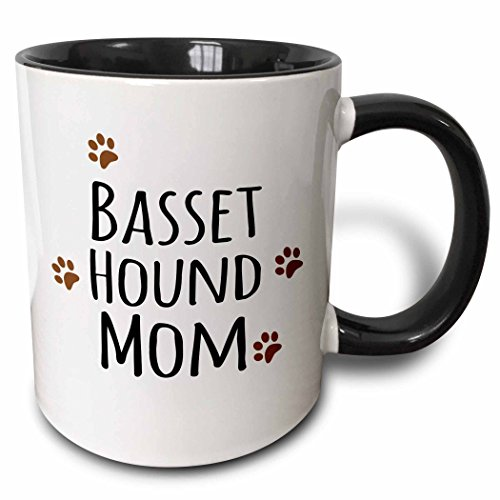3dRose 3dRose Basset Hound Dog Mom - Doggie by breed - brown muddy paw prints - doggy lover - pet owner mama love - Two Tone Black Mug, 11oz (mug_154064_4), , Black/White