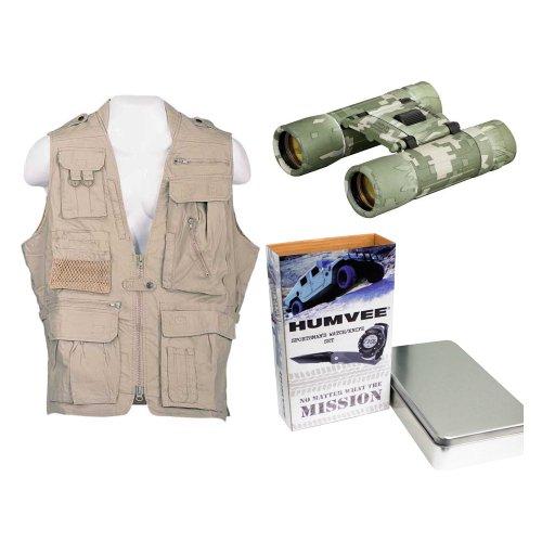 Humvee Hmv-Vs-K-L Safari Vest Large In Khaki + Dc Rubber Coated Compact Binocular (Digital Camouflage) + Sportsmans Watch & Knife Combo