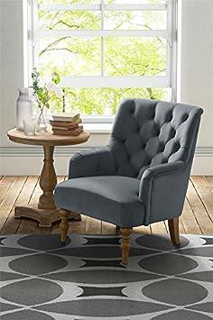 MY-Furniture LATERNA Lounge-Sessel mit Knopfheftung - Grau