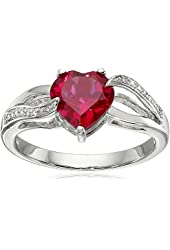 Sterling Silver Heart Created Ruby and Diamond Ring