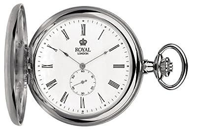 Royal London Pocket Watch 90013-01 Silver Tone Full Hunter