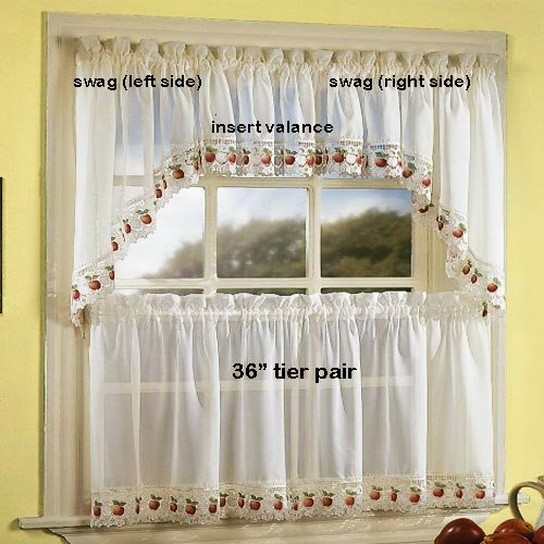 Cafe Curtains: Apple Orchard Kitchen Curtain