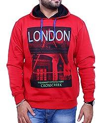 Griffel Men's Printed Hood Sweatshirt (X-Large, red)