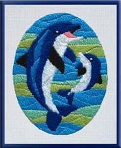 Sticken für Kinder mit Nadel Motiv Delfine - Delfin Größe 20 cm x 24 cm Stich für Stich einfaches Sticken