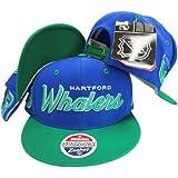 Hartford Whalers Script Blue/Green Two Tone Plastic Snapback Adjustable Plastic Snap Back Hat / Cap