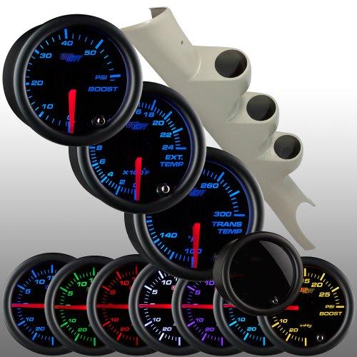 GlowShift Elite10 Color 30PSI FuelPress Gauge/&Black Pod Fits 98-02 Dodge Cummins