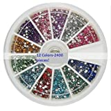 2400 Pcs 12 Colors Acrylic Rhinestone Decoration For Nail Art Manicure Colorful 2mm 3D Decoration In WHEEL