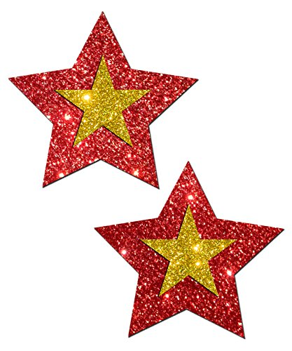 San Francisco Football Rockstar - Red And Gold Glitter Nipple Pasties By Pastease O/S