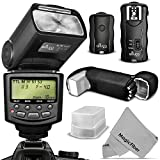 Altura Photo E-TTL Auto-Focus Dedicated Flash Kit (AP-C1001) for Canon DSLR Cameras including EOS 70D - 60D - SL1 - Rebel T5i - T4i - T3i - T2i - T1i - T5 - T3 - XT - XSi - XSi + Wireless Flash Trigger with Remote Control Function + Cable-C Cord + Protective Pouch + Hard Flash Diffuser + MagicFiber Microfiber Lens Cleaning Cloth