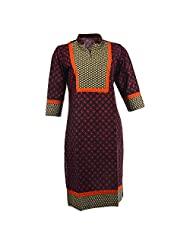 Pahal Women's Printed Cotton Black And Red Kurti