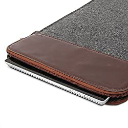 Surface Pro 3 / Surface Pro 4 Sleeve, GMYLE Sleeve Felt for Microsoft Surface Pro 3 / Surface Pro 4 - Dark Grey & Brown Soft Sleeve Bag Case Cover ...