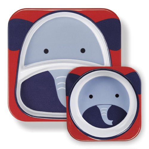 Baby / Child Skip Hop Zoo 100% Melamine Plate & Bowl Cute Feeding Set Water-Resistant For Fun Mealtime - Elephant Infant