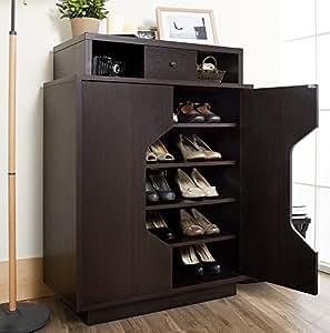 Espresso finished wood bedroom shoe organizer for Bedroom cabinets for sale