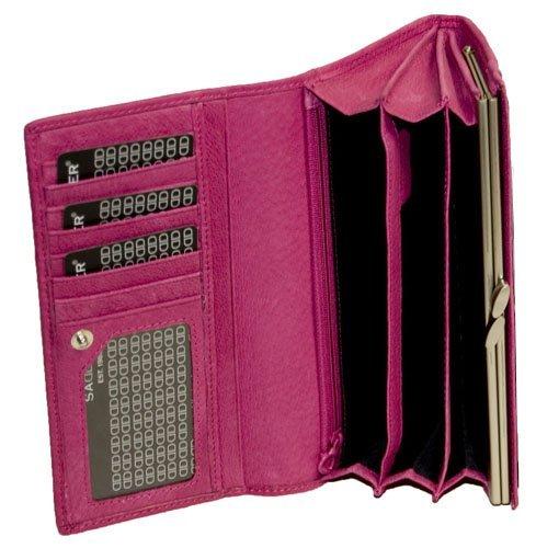 Saddler Suede Leather Ladies / Women's Internal Frame Matinee Purse, Cerise