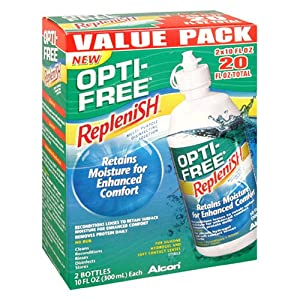 Opti-Free Replenish Multi-Purpose Disinfecting Solution, Value Pack, 2 - 10 fl oz (300 ml) bottles [20 fl oz]