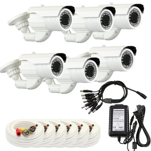 """Gw 6 X Professional 1/3"""" Panasonic Ccd Outdoor Camera With Bnc Cables & Power Supply Pack, 2.8~12Mm Lens, 700 Tv Lines, 36Pcs Ir Led, 82 Feet Ir Distance. Vandal Proof & Water Proof"""