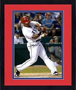 Framed Adrian Beltre Texas Rangers Autographed 16x20 Red Helmet Photograph - Mounted... by Sports Memorabilia