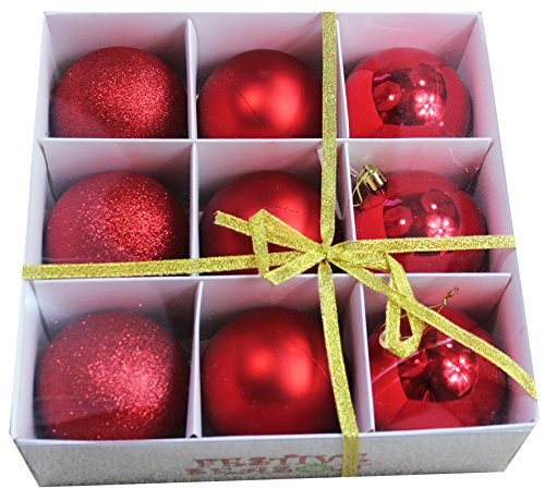 9pk 80mm Red Christmas Ball Ornaments - Shinny/Matte/Sparkle with Storage Box