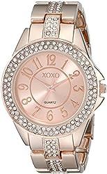 XOXO Women's XO5466 Rhinestone Accent Rose Gold Analog Bracelet Watch