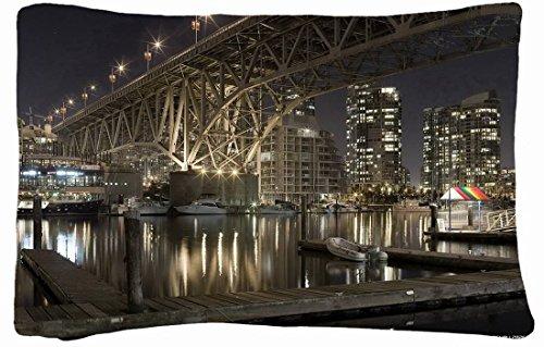 Microfiber Peach Queen Size Decorative Pillowcase -City Embankment Berth Boat Night Lights Bridge Home front-933470