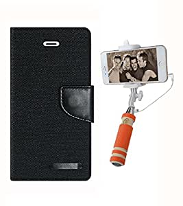 Aart Fancy Wallet Dairy Jeans Flip Case Cover for SamsungJ7 (Black) + Mini Fashionable Selfie Stick Compatible for all Mobiles Phones By Aart Store