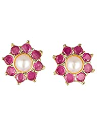 Archi Collection Trendy Ruby Pearl Floral Stud Golden Brass Stud Earring For Women