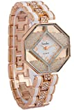 Timiho White Dial With Rolling Beads With Crystal Studded Strap Watch For Women