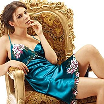 Greenery New Sexy V-neck Low-cut Satin Boudoir Lingerie Sleepwear Chemise Full Slip Dress Negligee Nightie Lounge Wear Night Gown Nightwear-(Blue)