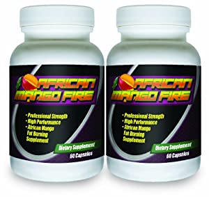 African Mango Fire 2 Bottles The 1 Rated African Mango Fat Burning Supplement Best All-natural Diet Pill by African Mango Fire Professional Strength Fat Burner
