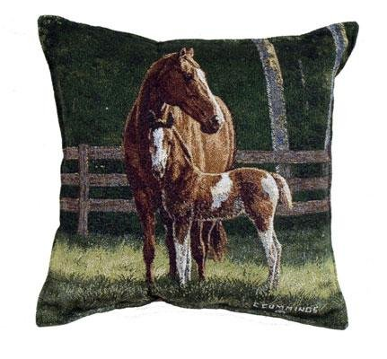 """Pack Of 2 Horse Mom And Baby Tapestry Square Throw Pillows 17"""" front-913283"""