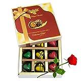 Delightful Heart Shaped Chocolates Pairs With Red Rose - Chocholik Belgium Chocolates