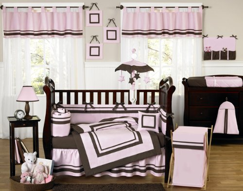 Contemporary Pink and Brown Hotel Modern Baby Girl Bedding 9pc Crib Set