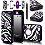 E-LV Deluxe Zebra Print Hard Soft High Impact Hybrid Armor Defender Case Combo for Apple iPod Touch 5 5th Generation with 1 Free Front and Back Screen Protector, 1 Black Stylus and E-LV Microfiber Sticker Digital Cleaner (Retail Packaging) (Purple) Reviews