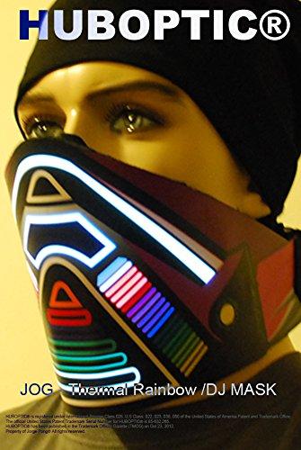 Rainbow Bandana Light up Mask – JOG Mask LED for Cyborg Dance Bandana Mask Cybernetic Dancer Futuristic Rave Rainbow Mask