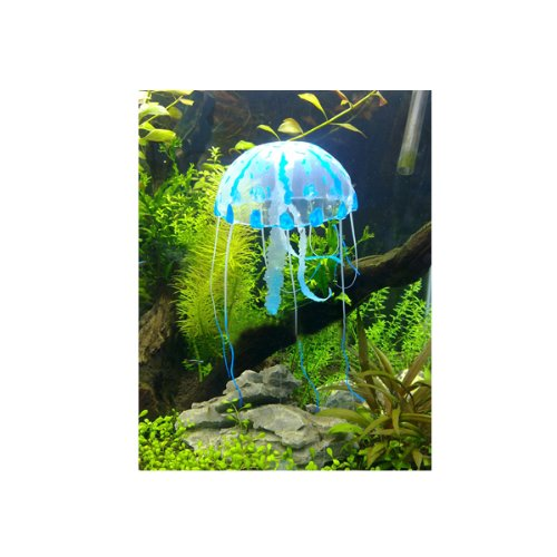 Glowing Effect Artificial Jellyfish for Aquarium Fish Tank Ornament (Blue)