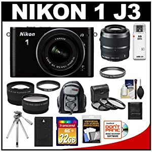 Nikon 1 J3 Digital Camera Body with 10-30mm VR Lens (Black) with 30-110mm Lens + 32GB Card + Battery + Backpack + Tripod + Telephoto & Wide-Angle Lenses + Accessory Kit