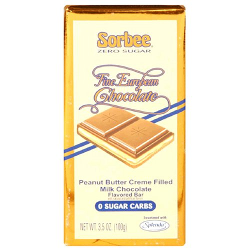 Buy Sorbee Sugar Free Milk Chocolate Bars Filled with Peanut Butter Creme, 3.5-Ounce Bars (Pack of 12) (Sorbee, Health & Personal Care, Products, Food & Snacks, Snacks Cookies & Candy, Candy, Sugar-Free Candy)